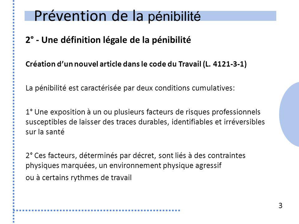 Prévention de la pénibilité 2° - Une définition légale de la pénibilité Création d'un nouvel article dans le code du Travail (L. 4121-3-1) La pénibili