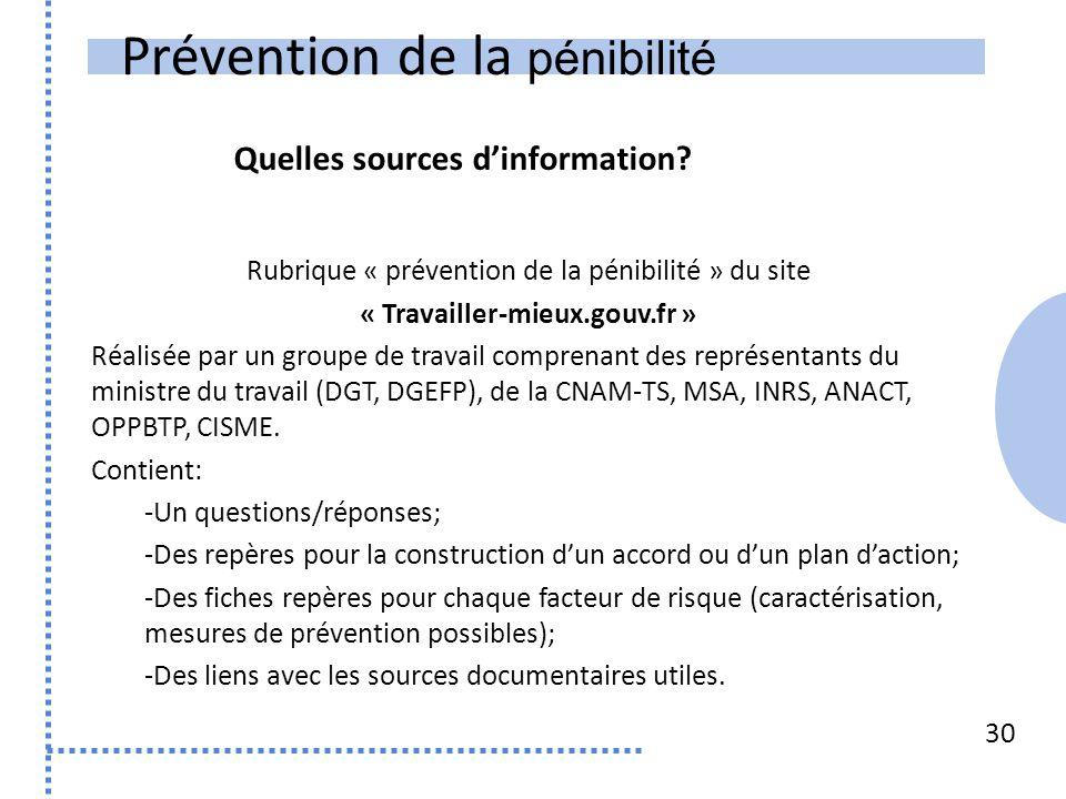 Prévention de la pénibilité 30 Rubrique « prévention de la pénibilité » du site « Travailler-mieux.gouv.fr » Réalisée par un groupe de travail compren