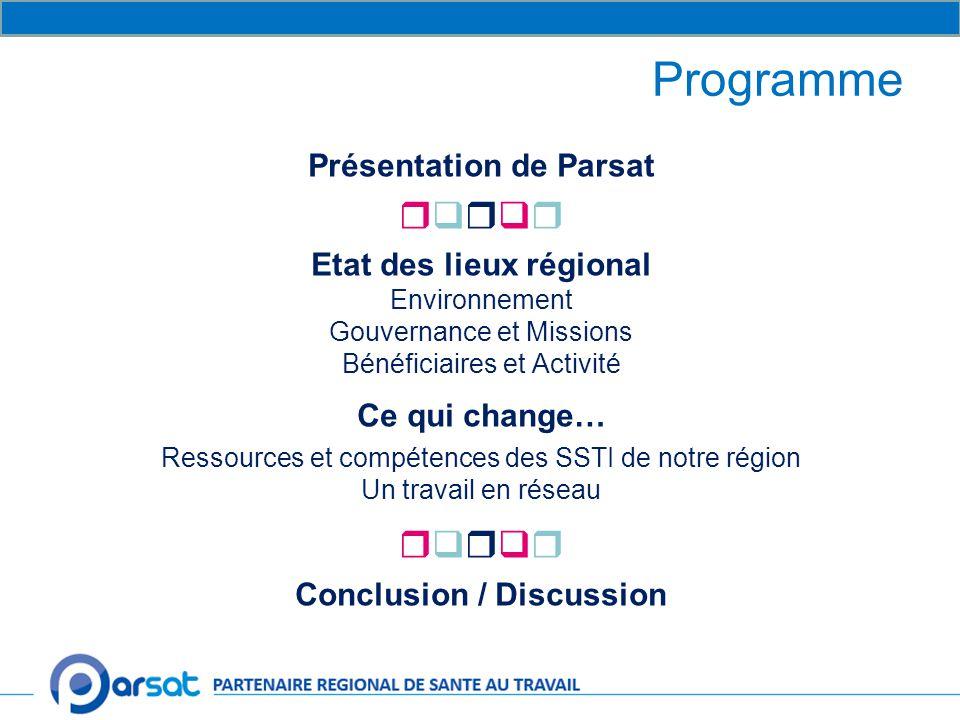 Programme Présentation de Parsat  Etat des lieux régional Environnement Gouvernance et Missions Bénéficiaires et Activité Ce qui change… Ressources et compétences des SSTI de notre région Un travail en réseau  Conclusion / Discussion