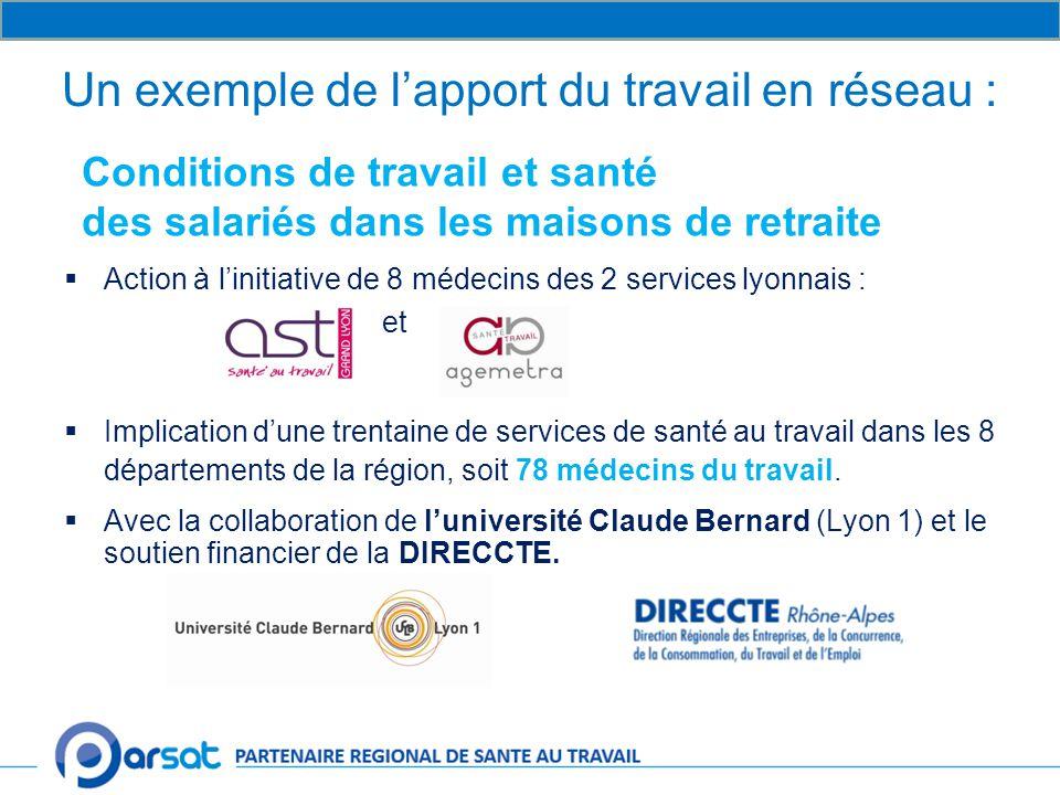 Un exemple de l'apport du travail en réseau :  Action à l'initiative de 8 médecins des 2 services lyonnais : et  Implication d'une trentaine de services de santé au travail dans les 8 départements de la région, soit 78 médecins du travail.