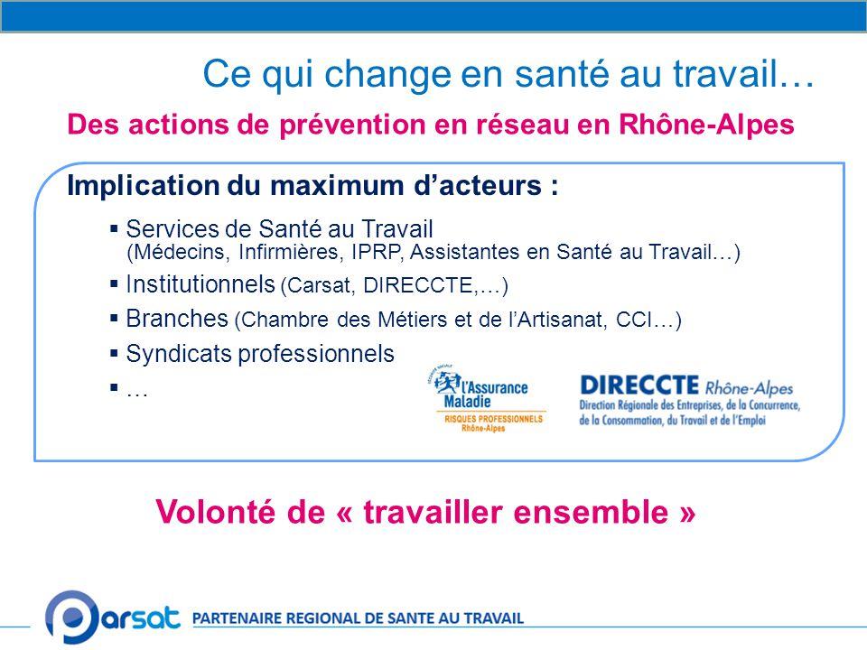 Implication du maximum d'acteurs :  Services de Santé au Travail (Médecins, Infirmières, IPRP, Assistantes en Santé au Travail…)  Institutionnels (Carsat, DIRECCTE,…)  Branches (Chambre des Métiers et de l'Artisanat, CCI…)  Syndicats professionnels  … Ce qui change en santé au travail… Des actions de prévention en réseau en Rhône-Alpes Volonté de « travailler ensemble »