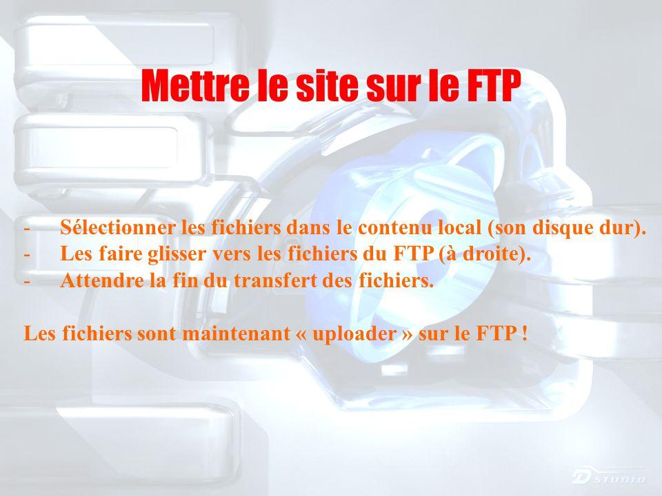 Mettre le site sur le FTP - Sélectionner les fichiers dans le contenu local (son disque dur).