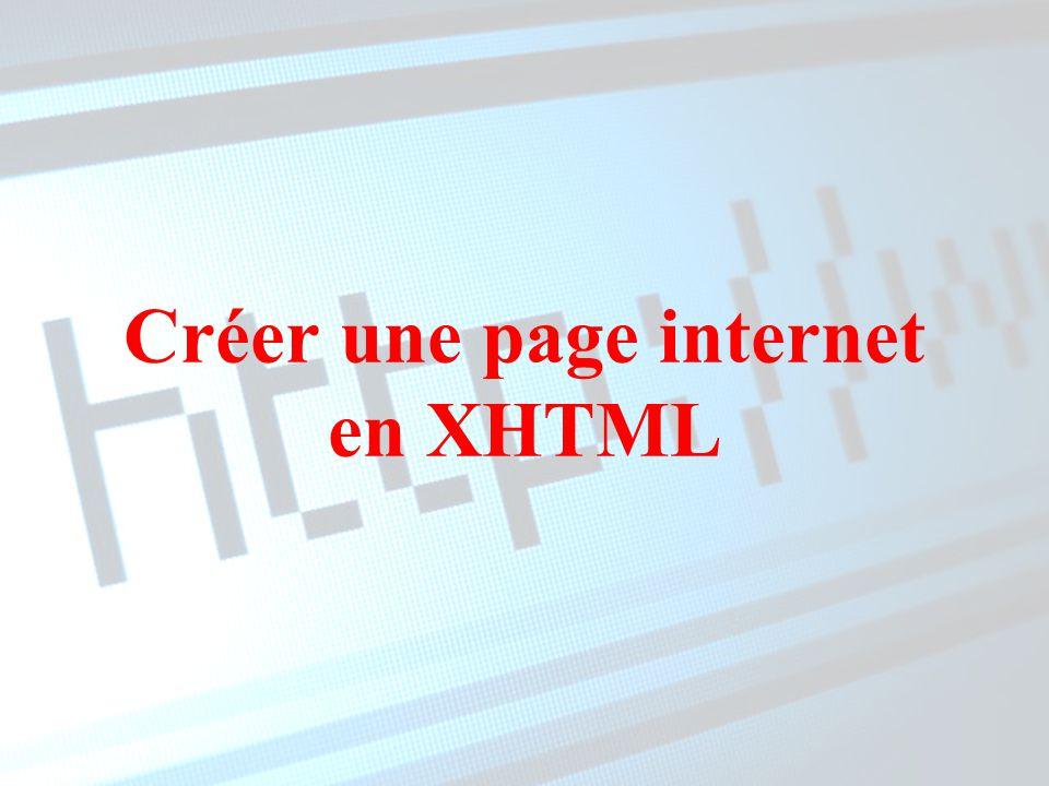 Créer une page internet en XHTML