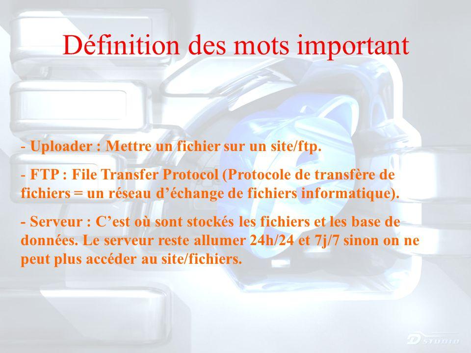 Définition des mots important - Uploader : Mettre un fichier sur un site/ftp.