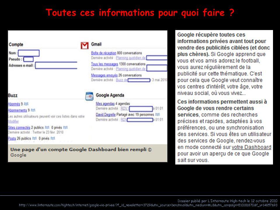Dossier publié par L'Internaute High-tech le 12 octobre 2010 http://www.linternaute.com/hightech/internet/google-vie-privee/?f_id_newsletter=3729&utm_source=benchmail&utm_medium=ML8&utm_campaign=E10181870&f_u=14857693 Toutes ces informations pour quoi faire ?