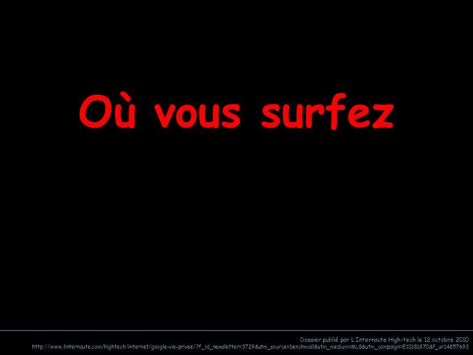 Dossier publié par L'Internaute High-tech le 12 octobre 2010 http://www.linternaute.com/hightech/internet/google-vie-privee/ f_id_newsletter=3729&utm_source=benchmail&utm_medium=ML8&utm_campaign=E10181870&f_u=14857693 Où vous surfez