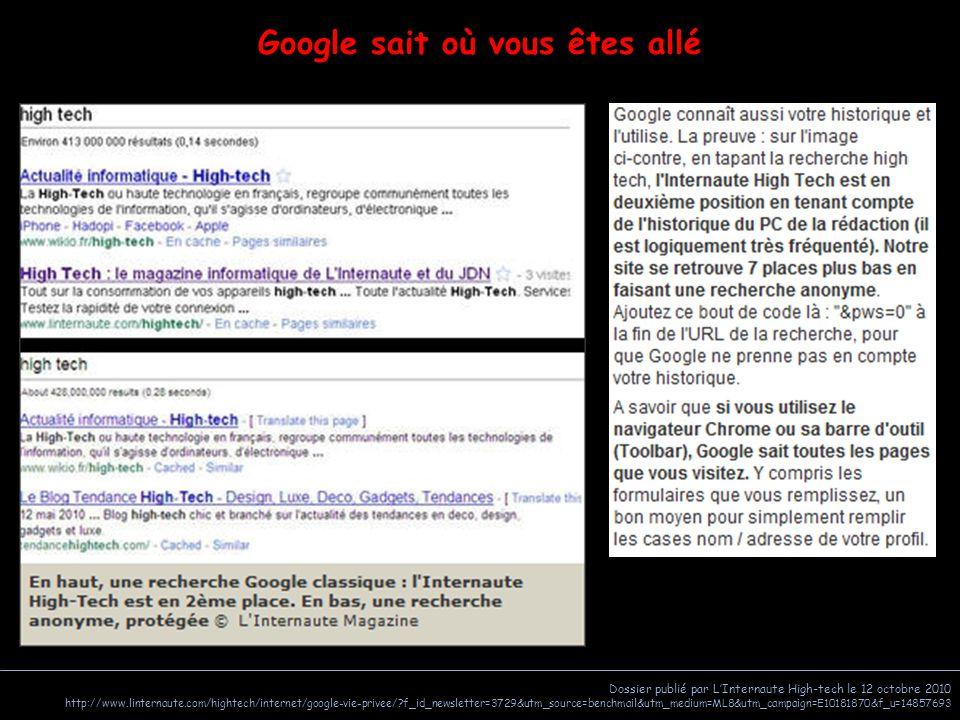 Dossier publié par L'Internaute High-tech le 12 octobre 2010 http://www.linternaute.com/hightech/internet/google-vie-privee/?f_id_newsletter=3729&utm_source=benchmail&utm_medium=ML8&utm_campaign=E10181870&f_u=14857693 Google sait où vous êtes allé