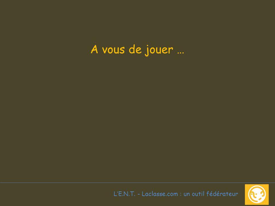 L'E.N.T. - Laclasse.com : un outil fédérateur A vous de jouer …