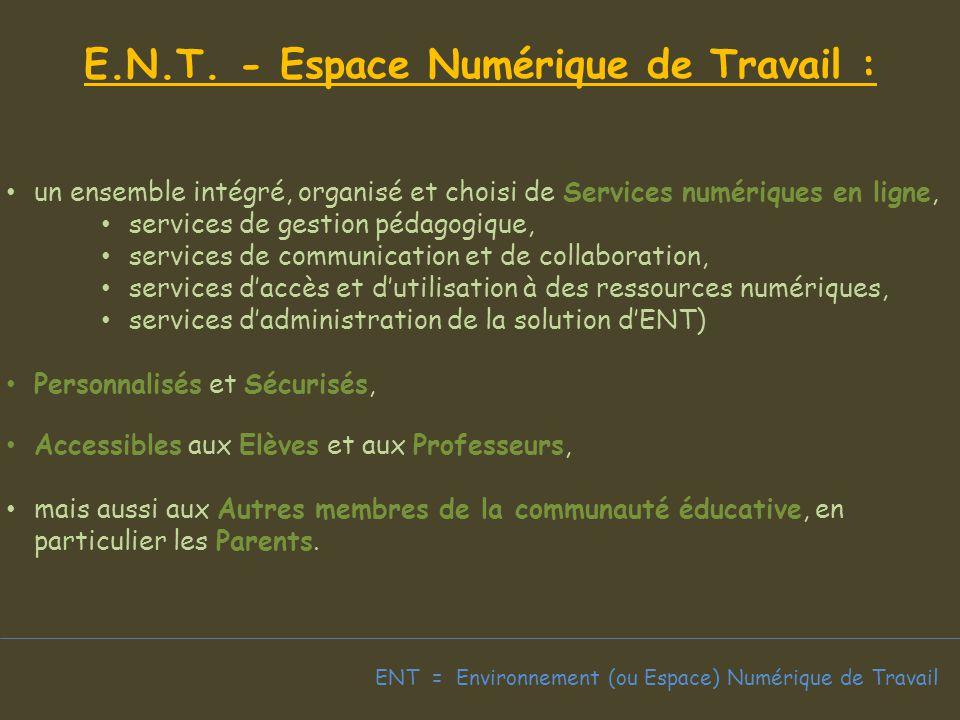 ENT = Environnement (ou Espace) Numérique de Travail E.N.T.