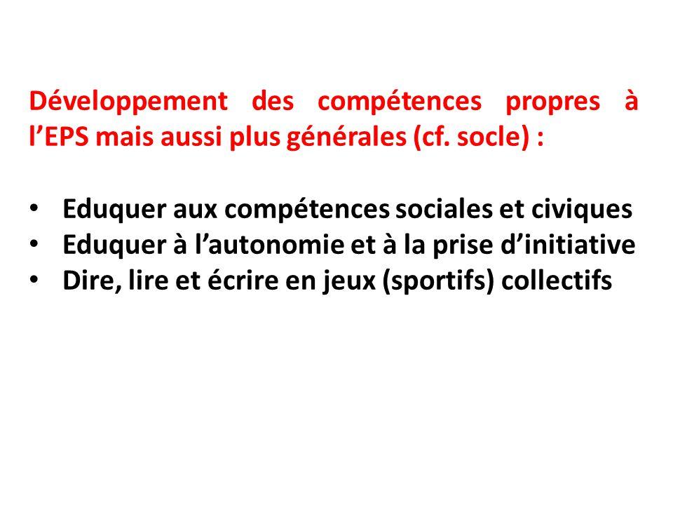 Développement des compétences propres à l'EPS mais aussi plus générales (cf. socle) : Eduquer aux compétences sociales et civiques Eduquer à l'autonom
