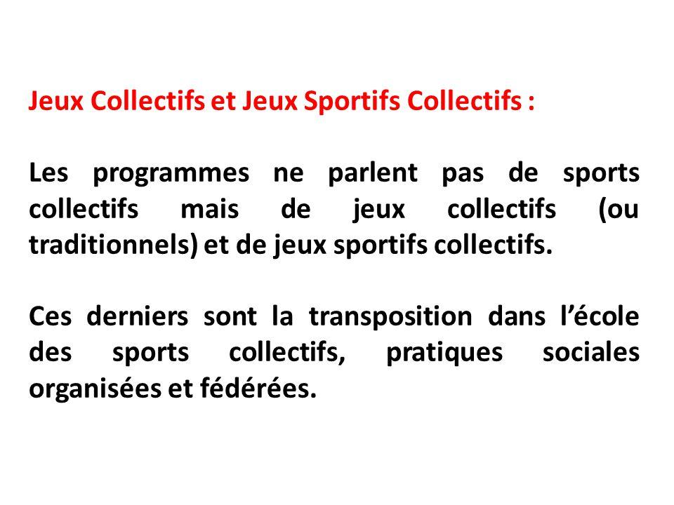 Jeux Collectifs et Jeux Sportifs Collectifs : Les programmes ne parlent pas de sports collectifs mais de jeux collectifs (ou traditionnels) et de jeux