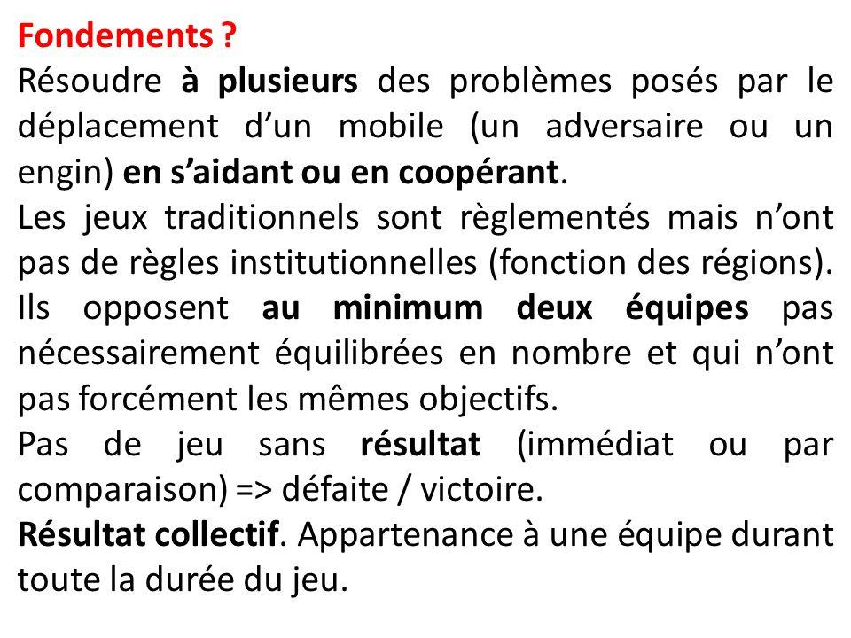Fondements ? Résoudre à plusieurs des problèmes posés par le déplacement d'un mobile (un adversaire ou un engin) en s'aidant ou en coopérant. Les jeux