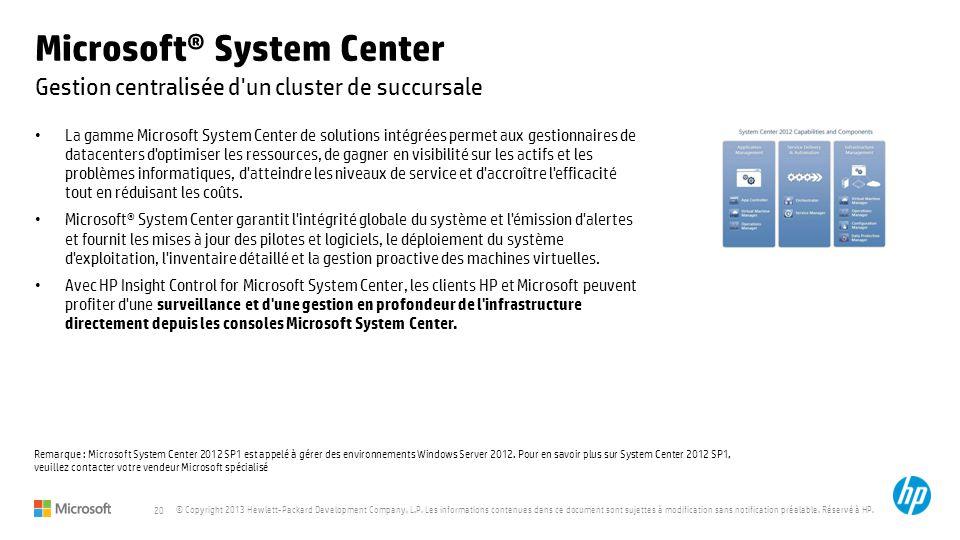 20 © Copyright 2013 Hewlett-Packard Development Company, L.P. Les informations contenues dans ce document sont sujettes à modification sans notificati