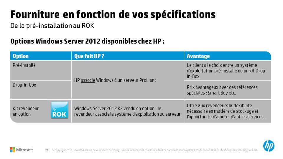 23 © Copyright 2013 Hewlett-Packard Development Company, L.P. Les informations contenues dans ce document sont sujettes à modification sans notificati