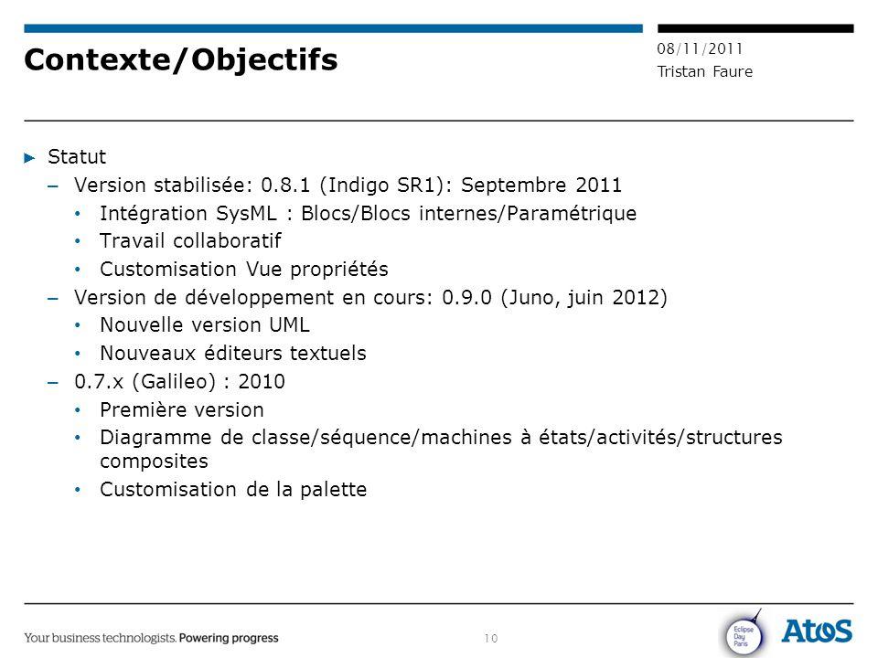 10 08/11/2011 Tristan Faure Contexte/Objectifs ▶ Statut – Version stabilisée: 0.8.1 (Indigo SR1): Septembre 2011 Intégration SysML : Blocs/Blocs inter