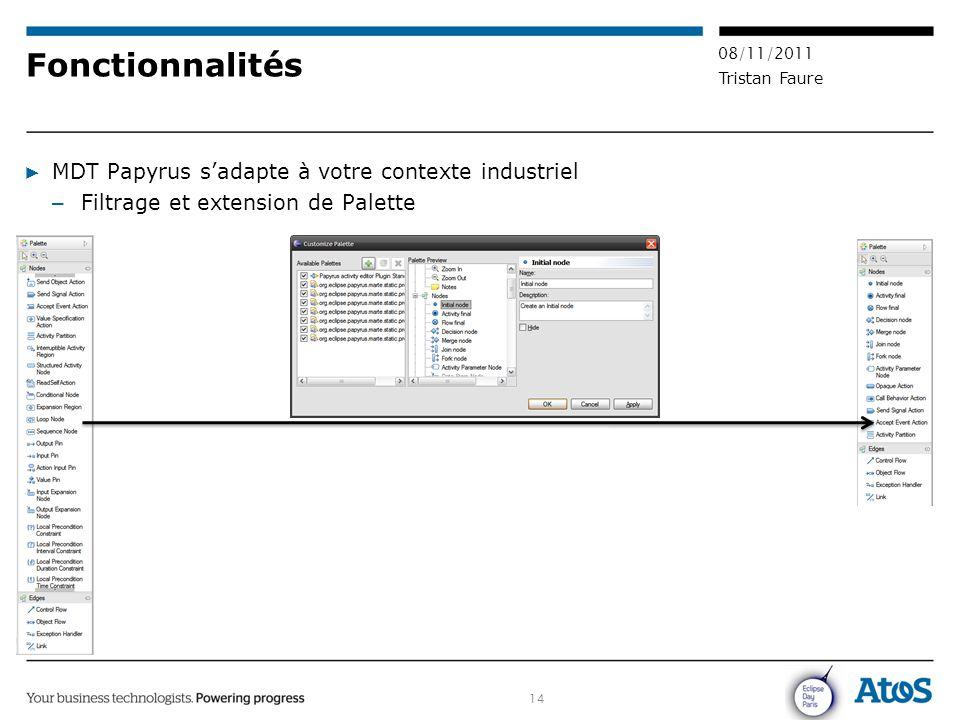 14 08/11/2011 Tristan Faure Fonctionnalités ▶ MDT Papyrus s'adapte à votre contexte industriel – Filtrage et extension de Palette