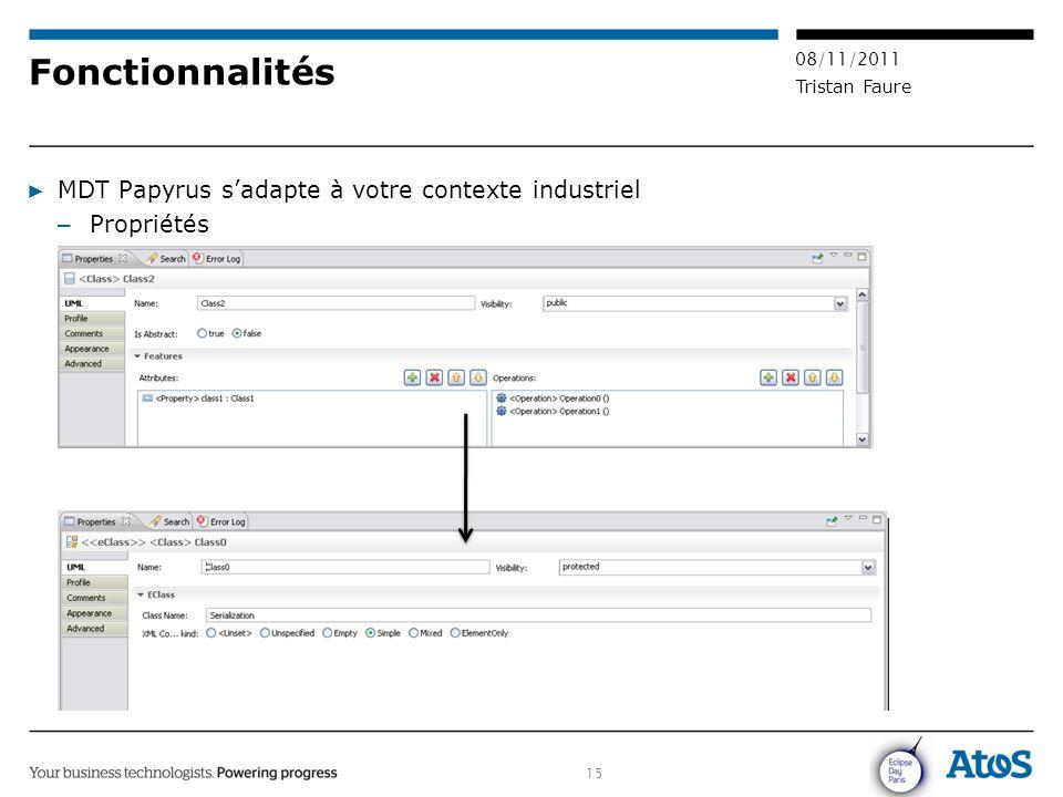 15 08/11/2011 Tristan Faure Fonctionnalités ▶ MDT Papyrus s'adapte à votre contexte industriel – Propriétés