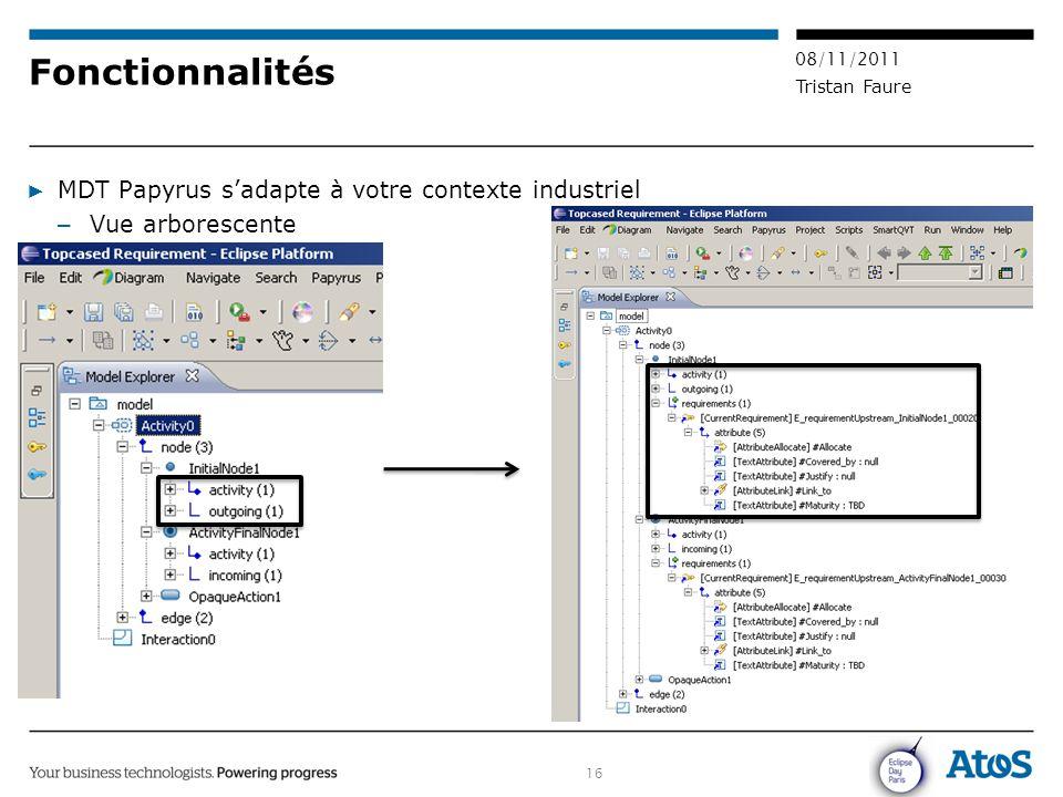 16 08/11/2011 Tristan Faure Fonctionnalités ▶ MDT Papyrus s'adapte à votre contexte industriel – Vue arborescente