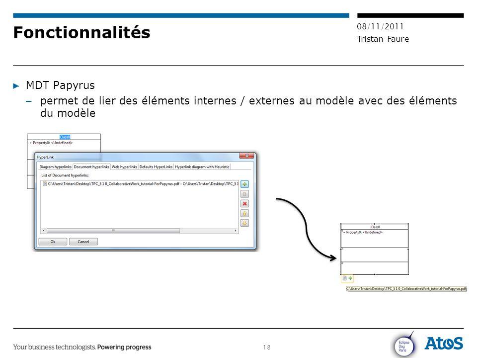 18 08/11/2011 Tristan Faure Fonctionnalités ▶ MDT Papyrus – permet de lier des éléments internes / externes au modèle avec des éléments du modèle