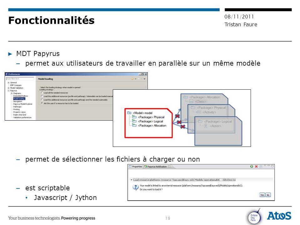 19 08/11/2011 Tristan Faure Fonctionnalités ▶ MDT Papyrus – permet aux utilisateurs de travailler en parallèle sur un même modèle – permet de sélectio