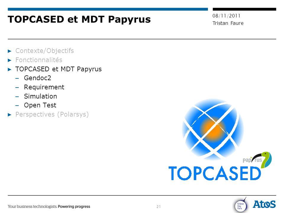 21 08/11/2011 Tristan Faure TOPCASED et MDT Papyrus ▶ Contexte/Objectifs ▶ Fonctionnalités ▶ TOPCASED et MDT Papyrus – Gendoc2 – Requirement – Simulat