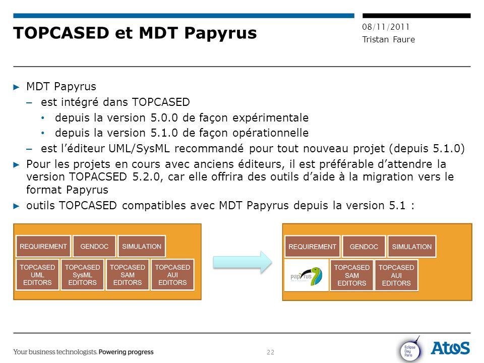 22 08/11/2011 Tristan Faure TOPCASED et MDT Papyrus ▶ MDT Papyrus – est intégré dans TOPCASED depuis la version 5.0.0 de façon expérimentale depuis la