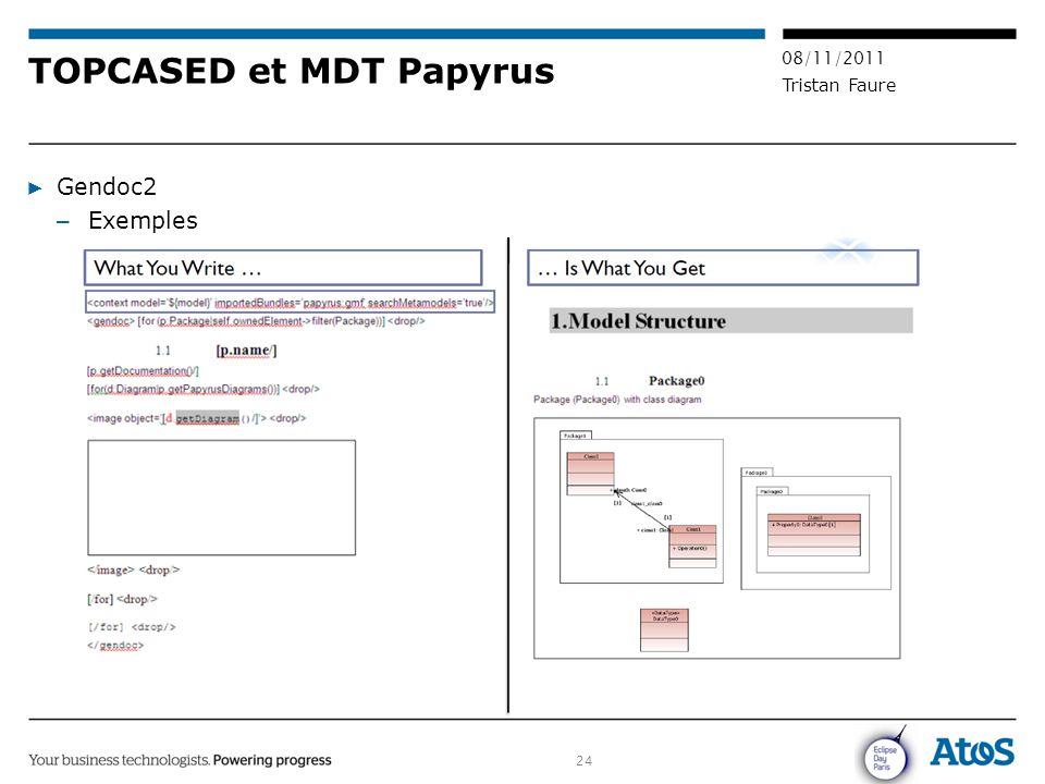 24 08/11/2011 Tristan Faure TOPCASED et MDT Papyrus ▶ Gendoc2 – Exemples