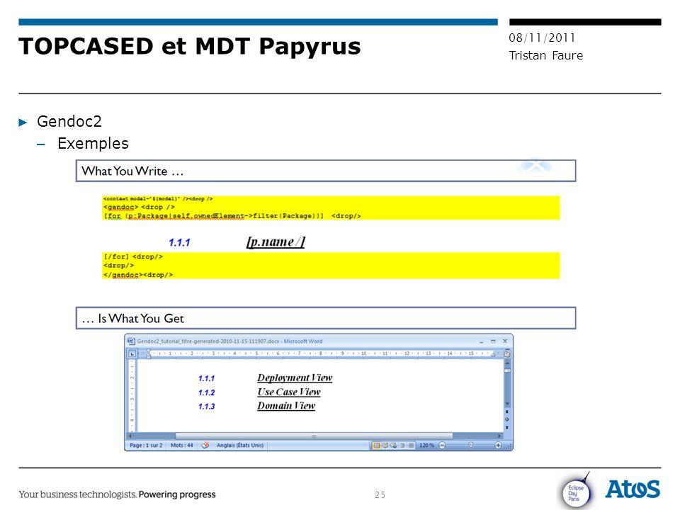 25 08/11/2011 Tristan Faure TOPCASED et MDT Papyrus ▶ Gendoc2 – Exemples