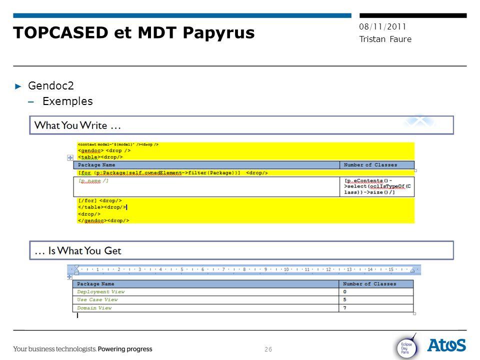 26 08/11/2011 Tristan Faure TOPCASED et MDT Papyrus ▶ Gendoc2 – Exemples