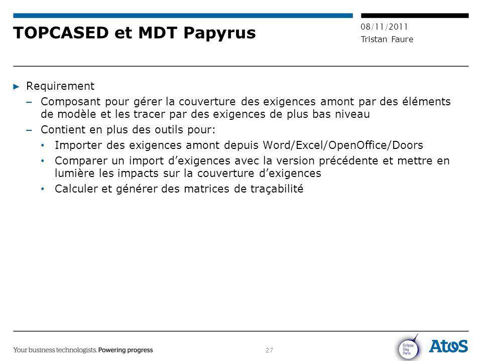 27 08/11/2011 Tristan Faure TOPCASED et MDT Papyrus ▶ Requirement – Composant pour gérer la couverture des exigences amont par des éléments de modèle
