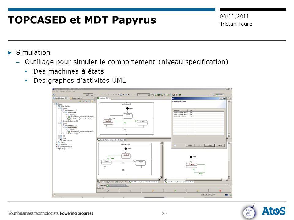 29 08/11/2011 Tristan Faure TOPCASED et MDT Papyrus ▶ Simulation – Outillage pour simuler le comportement (niveau spécification) Des machines à états