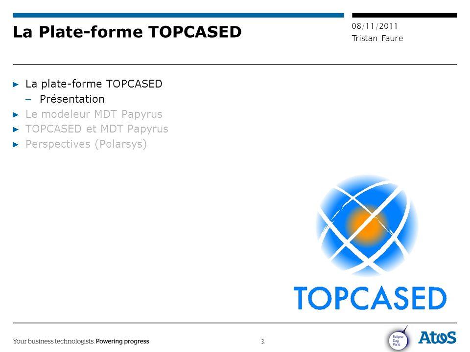3 08/11/2011 Tristan Faure ▶ La plate-forme TOPCASED – Présentation ▶ Le modeleur MDT Papyrus ▶ TOPCASED et MDT Papyrus ▶ Perspectives (Polarsys) La P