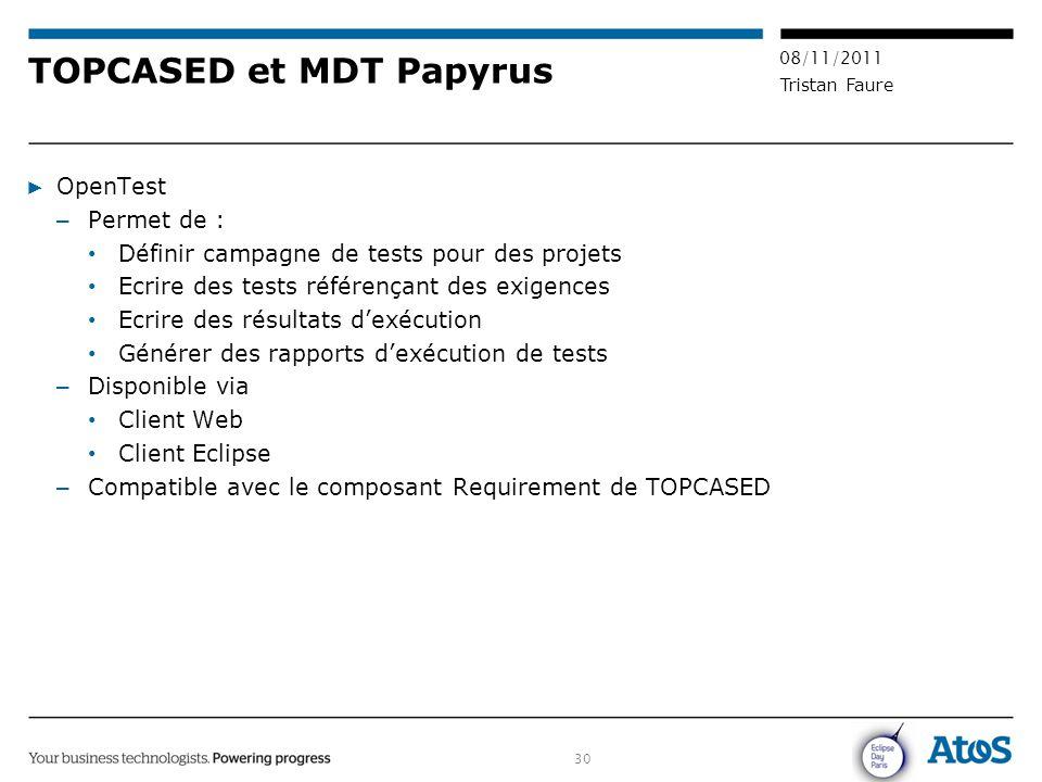 30 08/11/2011 Tristan Faure TOPCASED et MDT Papyrus ▶ OpenTest – Permet de : Définir campagne de tests pour des projets Ecrire des tests référençant d