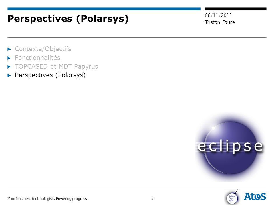 32 08/11/2011 Tristan Faure Perspectives (Polarsys) ▶ Contexte/Objectifs ▶ Fonctionnalités ▶ TOPCASED et MDT Papyrus ▶ Perspectives (Polarsys)