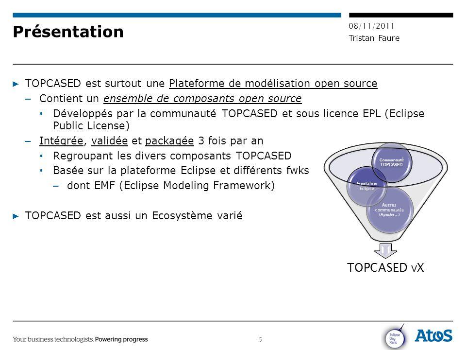 5 08/11/2011 Tristan Faure Présentation ▶ TOPCASED est surtout une Plateforme de modélisation open source – Contient un ensemble de composants open so