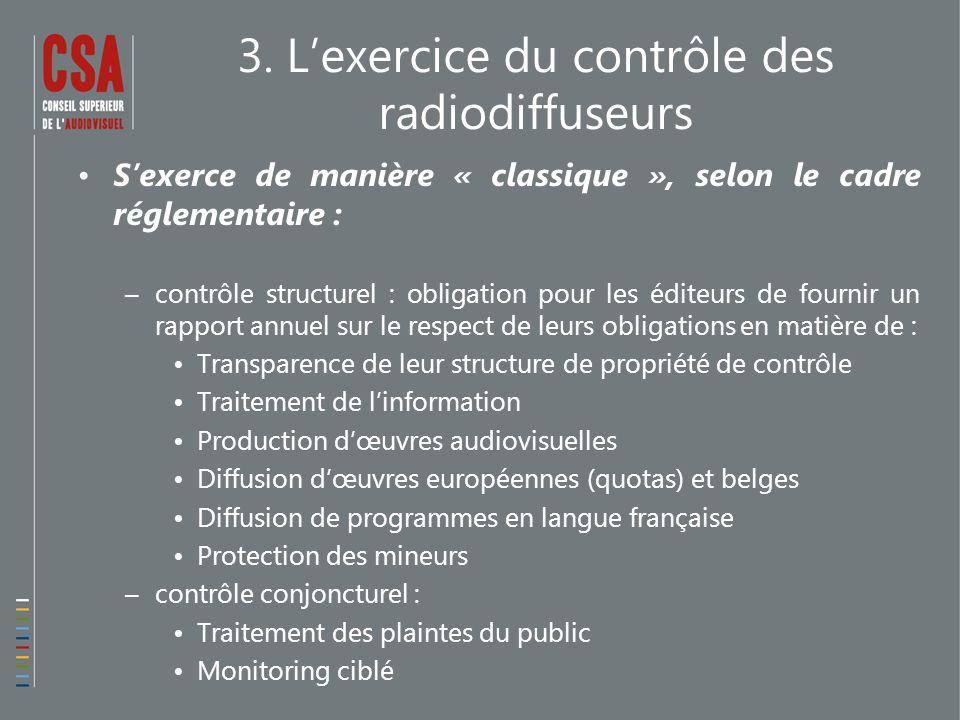 3. L'exercice du contrôle des radiodiffuseurs S'exerce de manière « classique », selon le cadre réglementaire : –contrôle structurel : obligation pour
