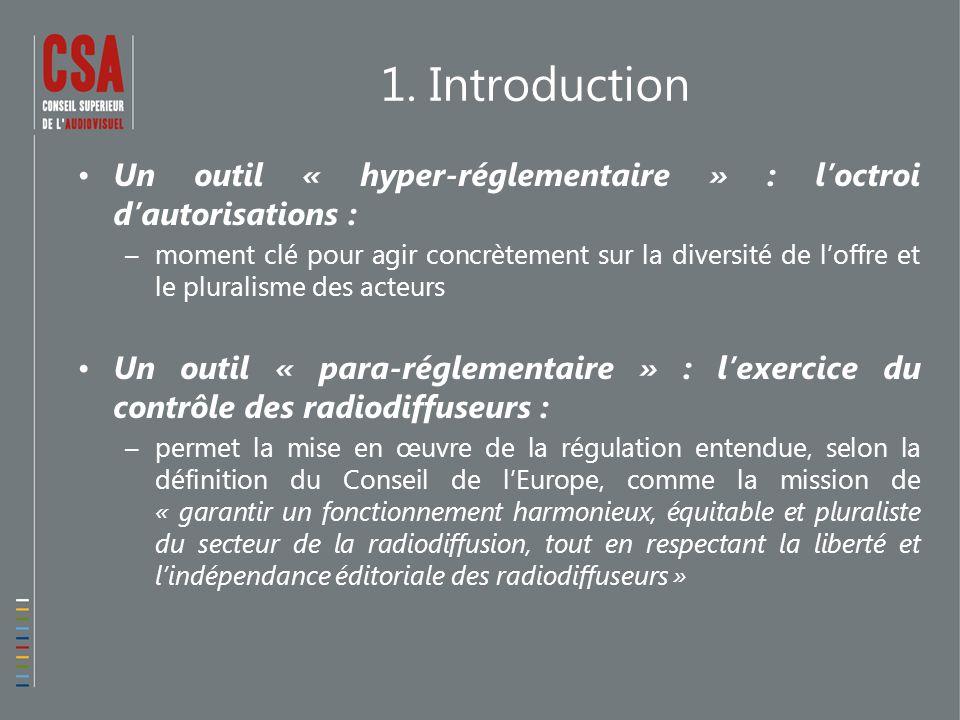 1. Introduction Un outil « hyper-réglementaire » : l'octroi d'autorisations : –moment clé pour agir concrètement sur la diversité de l'offre et le plu