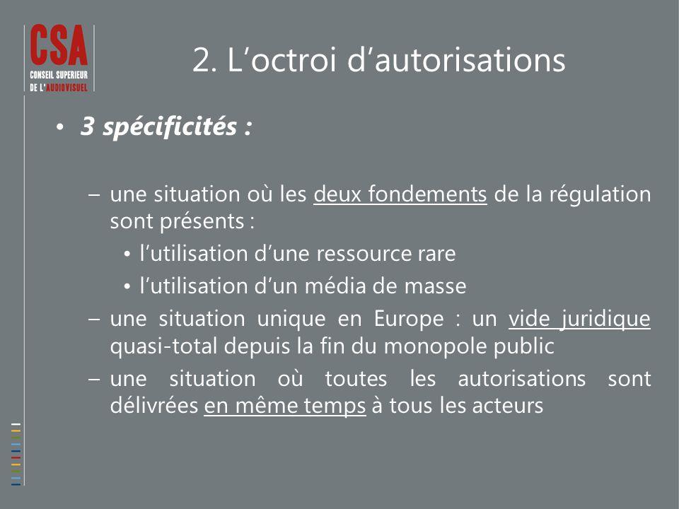 2. L'octroi d'autorisations 3 spécificités : –une situation où les deux fondements de la régulation sont présents : l'utilisation d'une ressource rare