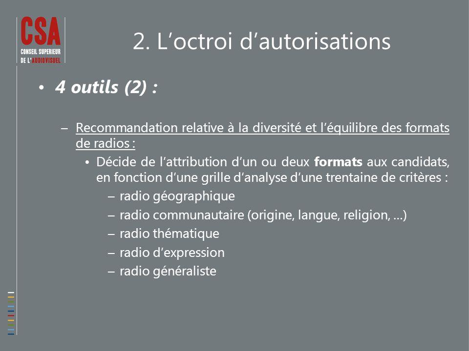 2. L'octroi d'autorisations 4 outils (2) : –Recommandation relative à la diversité et l'équilibre des formats de radios : Décide de l'attribution d'un