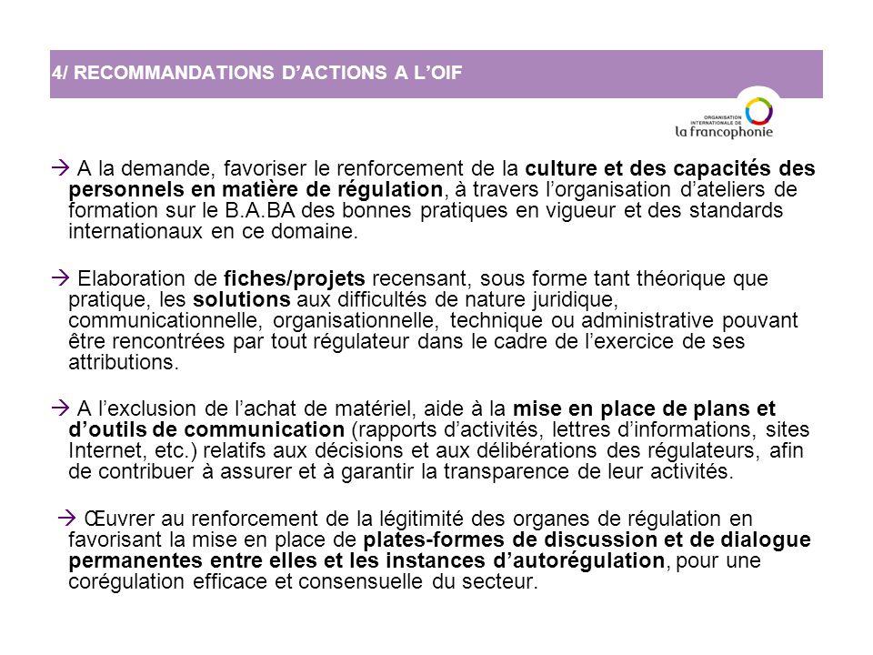  A la demande, favoriser le renforcement de la culture et des capacités des personnels en matière de régulation, à travers l'organisation d'ateliers de formation sur le B.A.BA des bonnes pratiques en vigueur et des standards internationaux en ce domaine.