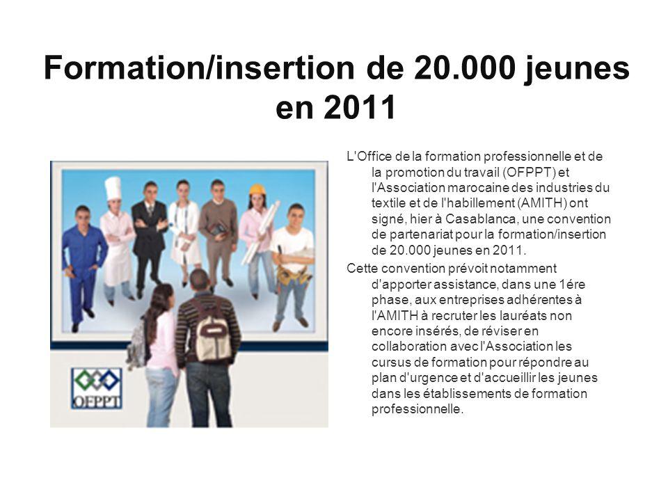 Formation/insertion de 20.000 jeunes en 2011 L Office de la formation professionnelle et de la promotion du travail (OFPPT) et l Association marocaine des industries du textile et de l habillement (AMITH) ont signé, hier à Casablanca, une convention de partenariat pour la formation/insertion de 20.000 jeunes en 2011.