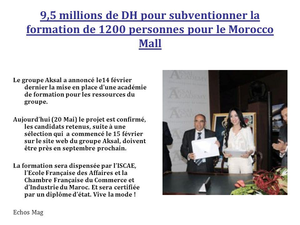 9,5 millions de DH pour subventionner la formation de 1200 personnes pour le Morocco Mall Le groupe Aksal a annoncé le14 février dernier la mise en place d'une académie de formation pour les ressources du groupe.
