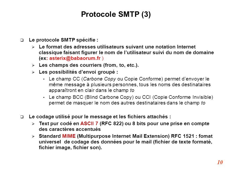 10 Protocole SMTP (3)  Le protocole SMTP spécifie :  Le format des adresses utilisateurs suivant une notation Internet classique faisant figurer le