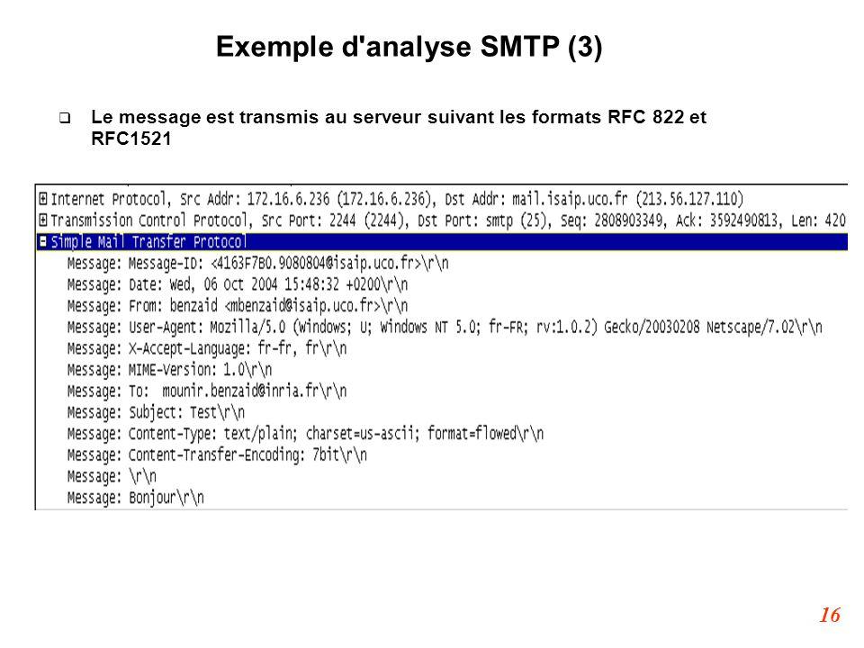 16 Exemple d'analyse SMTP (3)  Le message est transmis au serveur suivant les formats RFC 822 et RFC1521