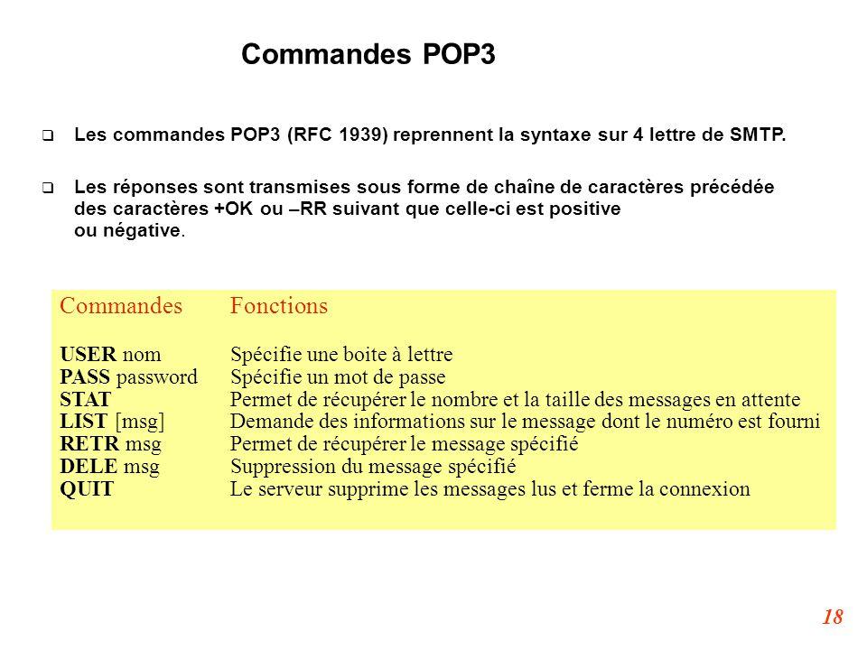 18 Commandes POP3  Les commandes POP3 (RFC 1939) reprennent la syntaxe sur 4 lettre de SMTP.  Les réponses sont transmises sous forme de chaîne de c