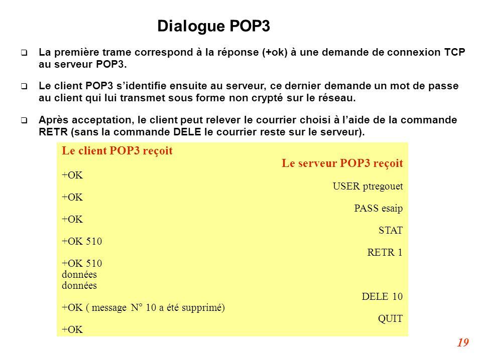 19 Dialogue POP3  La première trame correspond à la réponse (+ok) à une demande de connexion TCP au serveur POP3.  Le client POP3 s'identifie ensuit