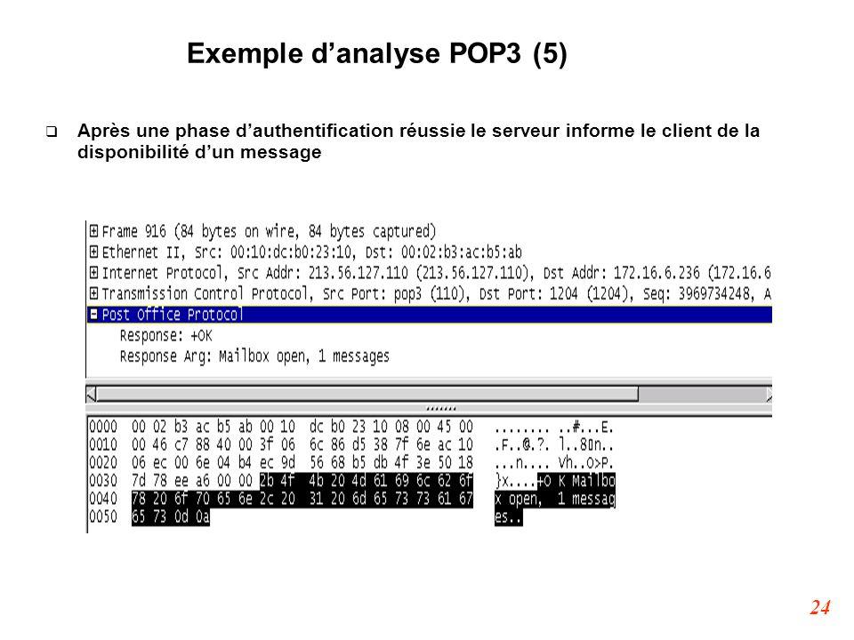 24 Exemple d'analyse POP3 (5)  Après une phase d'authentification réussie le serveur informe le client de la disponibilité d'un message