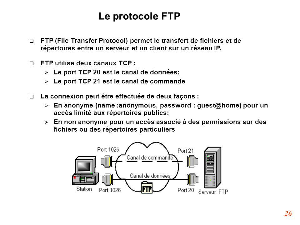 26 Le protocole FTP  FTP (File Transfer Protocol) permet le transfert de fichiers et de répertoires entre un serveur et un client sur un réseau IP. 