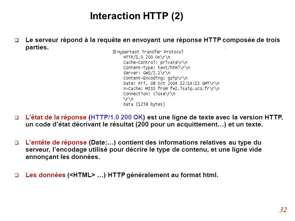 32 Interaction HTTP (2)  Le serveur répond à la requête en envoyant une réponse HTTP composée de trois parties.  L'état de la réponse (HTTP/1.0 200