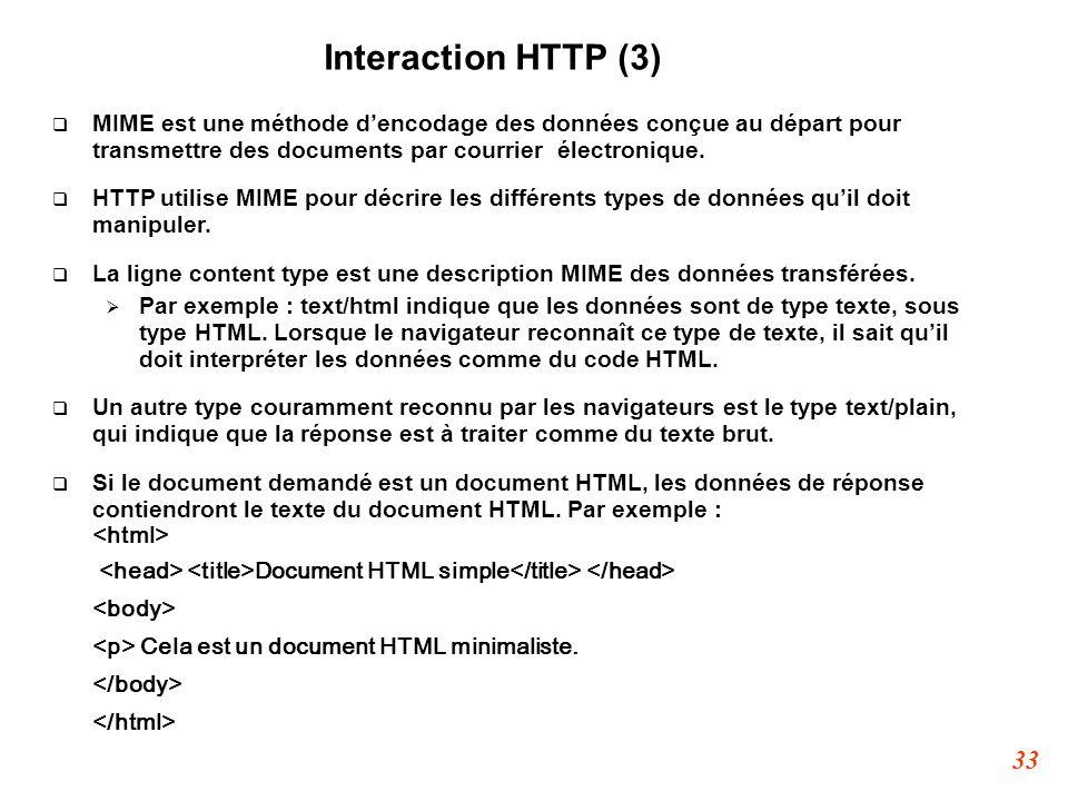 33 Interaction HTTP (3)  MIME est une méthode d'encodage des données conçue au départ pour transmettre des documents par courrier électronique.  HT